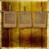 Old grunge slides on the wooden background — Stock Photo