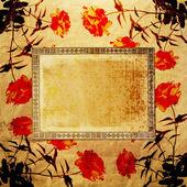Enajenado fondo de papel dorado para anuncio con rose — Foto de Stock
