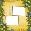 Congratulation to the holiday with paper and yellow flowers — Foto de Stock