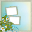 Grunge frames with beautiful daisy for design — Stock Photo #8936309