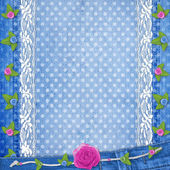 Abstract blue jeans background with lace and buttonhole for gree — Stock Photo