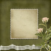 Vintage old postcard for congratulation with roses and pearls — Stock Photo