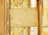 旧档案,并将字母、 抽象背景上的照片 — 图库照片