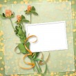 Grunge paper for congratulation with bunch of clover — Stock Photo #8981383