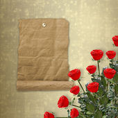 Card for congratulation or invitation with bunch of flowers — Stock Photo