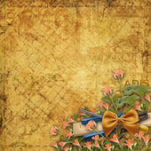 Old grunge torn paper with flowers and instruments — Stock Photo