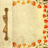 Grunge gold album for photos with bow and painted roses — Stock Photo
