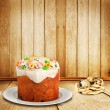 Celebratory cake and quail eggs for Easter holiday — Stock Photo