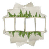 White isolated background with paper frame and bunch of twigs fe — Stock Photo