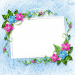 Card for invitation or congratulation with blue and pink orchids — Stock Photo #9104236