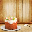 Stock Photo: Celebratory cake decorated with sugar flowers to Happy Easte