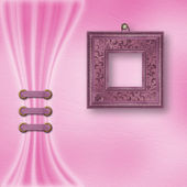 Delicate pastel background with ornate frame and light curtain — Stock Photo