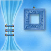 Fijne pastel achtergrond met sierlijke frame en licht gordijn — Stockfoto