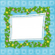 Carved frame with flower garland on the blue background — Stock Photo #9286355