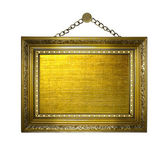 Rám obrazu zlatý na bílém pozadí izolované — Stock fotografie