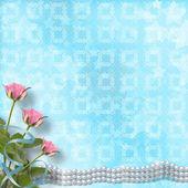 バラと真珠でお祝いのヴィンテージ古いポストカード — ストック写真