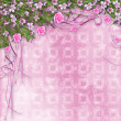 Ornamental abstract background with sakura and roses — Stock Photo