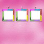 Cadres lumineux multicolores suspendus sur l'arr.plans pastel abstrait — Photo