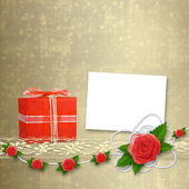 Card for invitation or congratulation with buttonhole and lace — Stock Photo