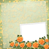 Grunge paper for congratulation with painting rose — Stock Photo