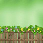 Trästaket med en blomslinga på abstrakt bakgrund av — Stockfoto