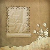 Grunge paper design in scrapbooking style on the abstract backgr — Stock Photo