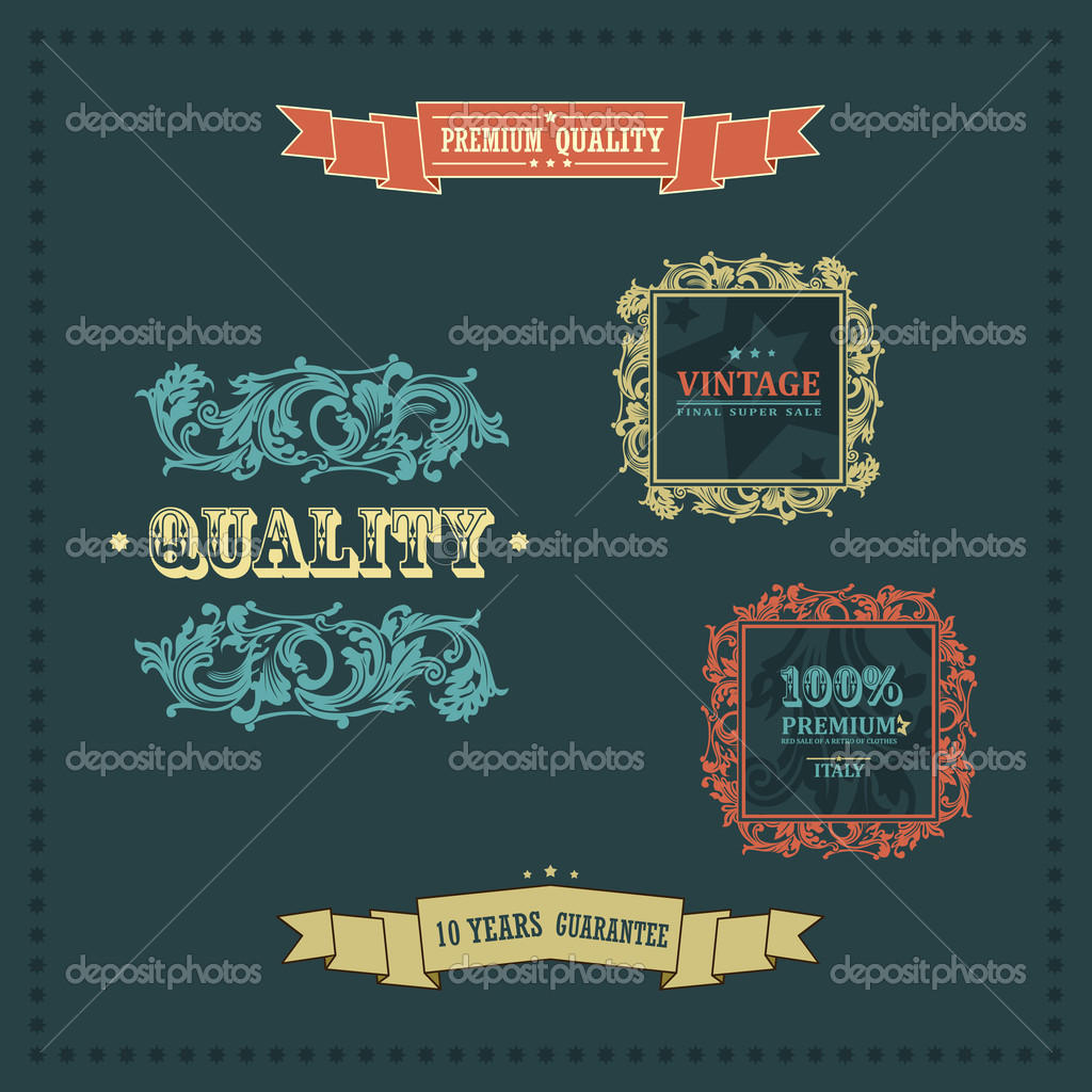 Vector vintage ornate decor elements. frames ornaments ribbons stars — Stock Vector #8678093