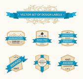 Vector set vintage ornate decor elements. ornaments ribbon blue — Stock Vector
