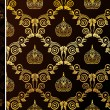 Seamless wallpaper vector gold black vintage background — Image vectorielle