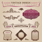 Calligraphic elements vintage Congratulation page decoration. Ve — Stock Vector