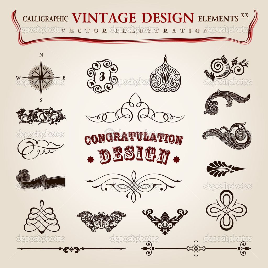 Vector set calligraphic vintage elements and page decoration, pr ...