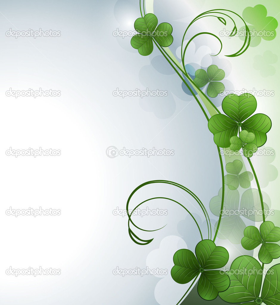 Vector background with  green clover — Stock Vector #9180491