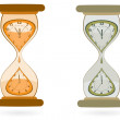 Hourglass with Wall Clocks — Stock Vector