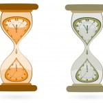 clessidra con orologi da parete — Vettoriale Stock  #10054156