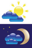 Day and Night symbols — Stock Vector