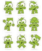 Funny green cartoons robot monster character set — Stock Vector