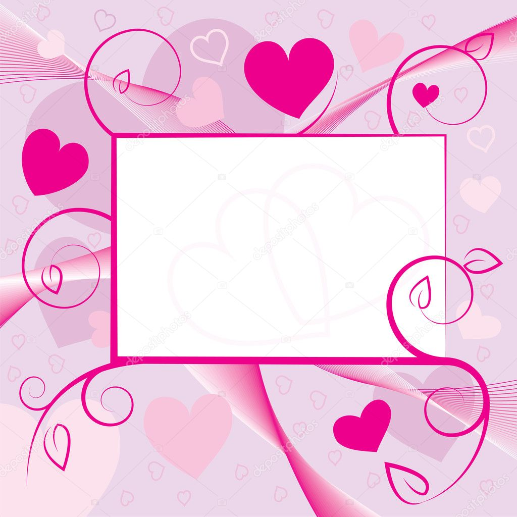 Valentine day greeting card with hearts and swirls. Vector illustration.  Stock Vector #8518826