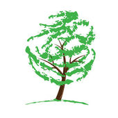 Green tree drawing isolated on white — Stock Vector