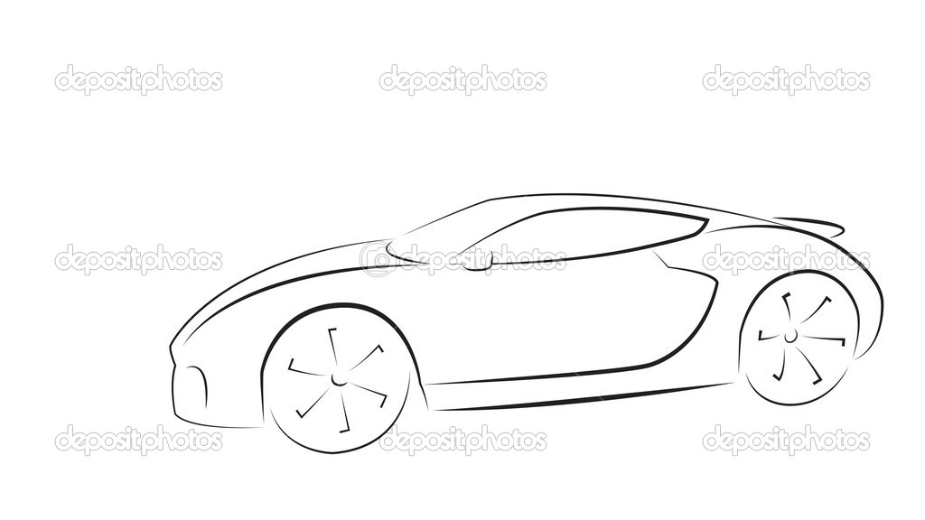 Outline of a Sports Car Sport Car Silhouette