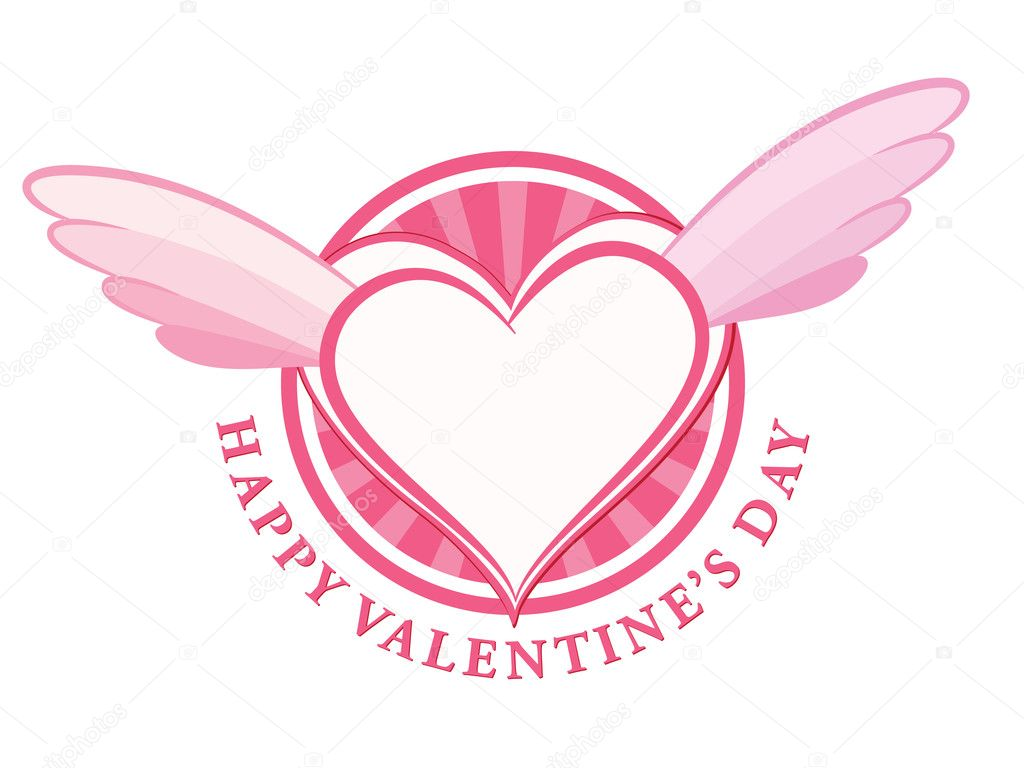 HAPPY Valentine day stamp with heart and wings. Vector illustration. — Stock Vector #8947083