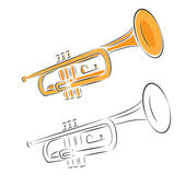 Trumpet set isolated on white background — Stock Vector