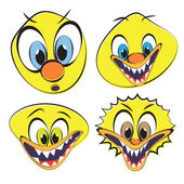 Set of funny and ugly smiley — Stock Vector