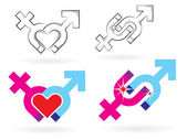Male and female symbols magnetism — Stock Vector