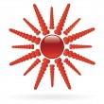 Sun with heart symbol beams — Stock Vector