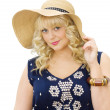 Beautiful young woman wearing summer hat — Stock Photo