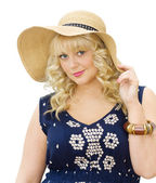 Schöne junge Frau, die Sommer Hut zu tragen — Stockfoto