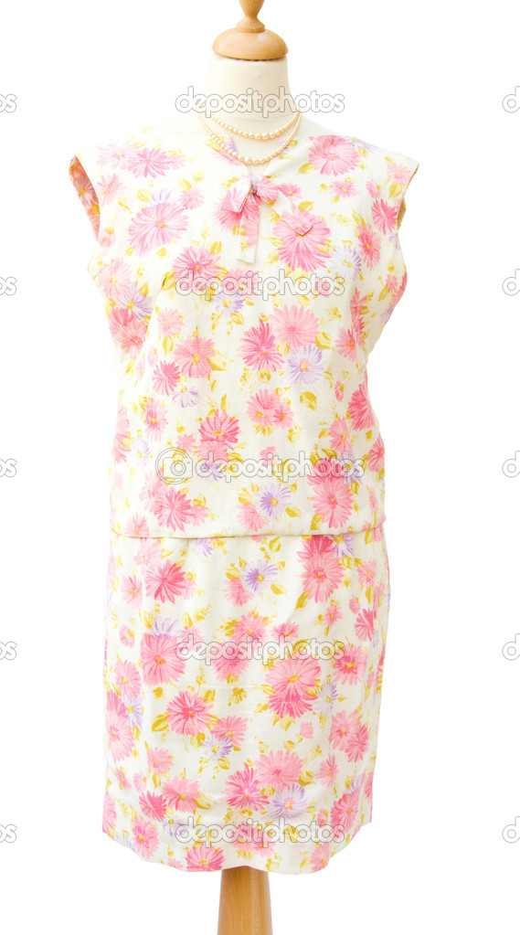 Genuine vintage 1950 woman skirt suit with pink flowers. Isolated over white background. — Stock Photo #10448682