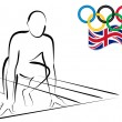 Athlete ready to start racing - London 2012 - Stock Vector