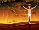 Crucifixion of Jesus on Golgotha Hills — Stock Vector