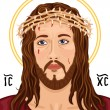 Stock Vector: Portrait of Jesus Christ with Christogram